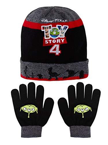 Disney Toy Story 4 - Juego de gorro y guantes de invierno para niños, diseño de Buzz Woody Forky Negro negro/ rojo 6 3/8