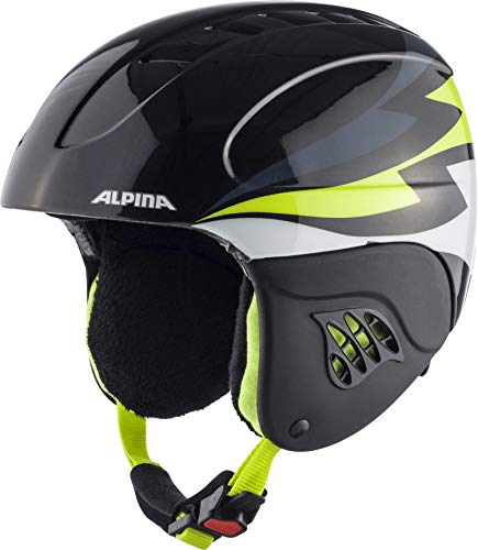 ALPINA CARAT Skihelm, Kinder, charcoal-neon yellow, 51-55