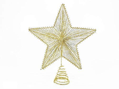 BUYSTAR Puntale per Albero di Natale Puntale a Forma di Stella 30cm Oro Decorazioni addobbi Natalizi Glitter Alberi di Natale Sfere Palle Decorazione per Albero di Natale puntali