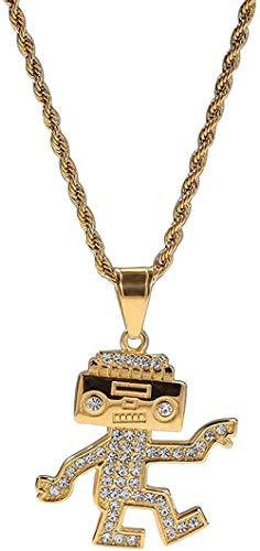 Yiffshunl Collar Acero Inoxidable Diamante Dibujos Animados Dancing RT Colgante Collar Hip Hop Tendencia Hombres y Mujeres Collar Accesorios Original Simple Popular-Gold Collar Regalo