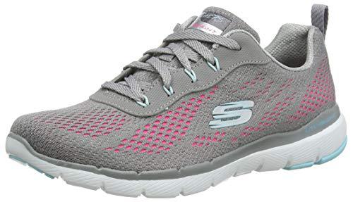Skechers Flex Appeal 3.0-Pure Veloci, Zapatillas Deportivas Mujer, Multicolor (GYHP Black Mesh/Hot Pink & Turquoise Trim), 39 EU