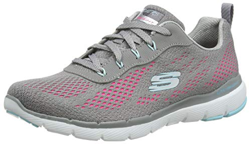 Skechers Damen Flex Appeal 3.0 Sneaker, Grau (Gray Mesh/Light Blue & Pink Trim Gyhp), 41 EU