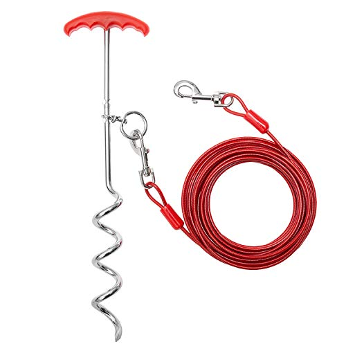 "MINIPET Dog Tie Out Cable & Stake - 30 FT Heavy Duty Long Dog Leash with 16""Spiral Anchor Stake - Tangle Free Suit for Small, Medium,Large Dog for Outdoor Yard Playing/Training/Hiking/Camping"