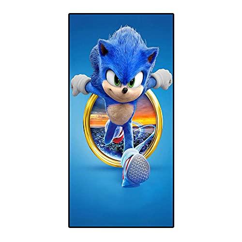 Amacigana Toallas de playa Sonic the Hedgehog, toalla de viaje compacta, de secado rápido y tacto súper suave, 100% poliéster, perfecto para el hogar, playa y piscina (Sonic, 70 x 140 cm)