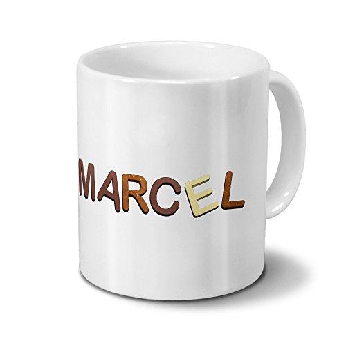 Tasse mit Namen Marcel - Motiv Schokoladenbuchstaben - Namenstasse, Kaffeebecher, Mug, Becher, Kaffeetasse - Farbe Weiß