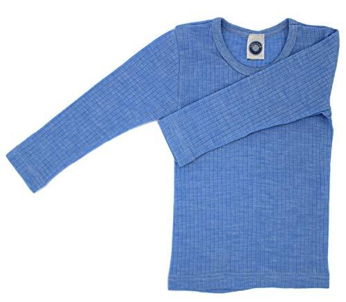 Cosilana Kinderhemd, Größe 116, Farbe Hellblau meliert - Exclusiv Wollbody®GmbH - Qualität 91 45% Baumwolle KBA, 35% Schurwolle kbT, 20% Seide