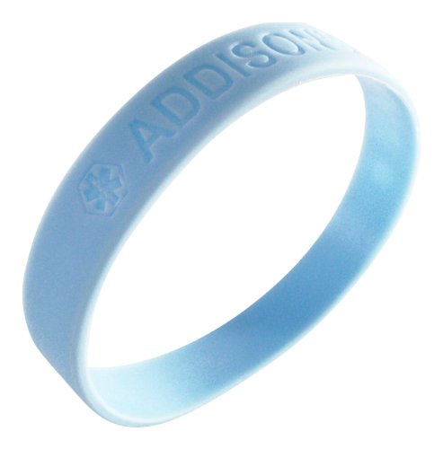 2-Pack Addison's Disease Medical Alert ID Wristband Bracelets Silicone for Men or Women Awareness