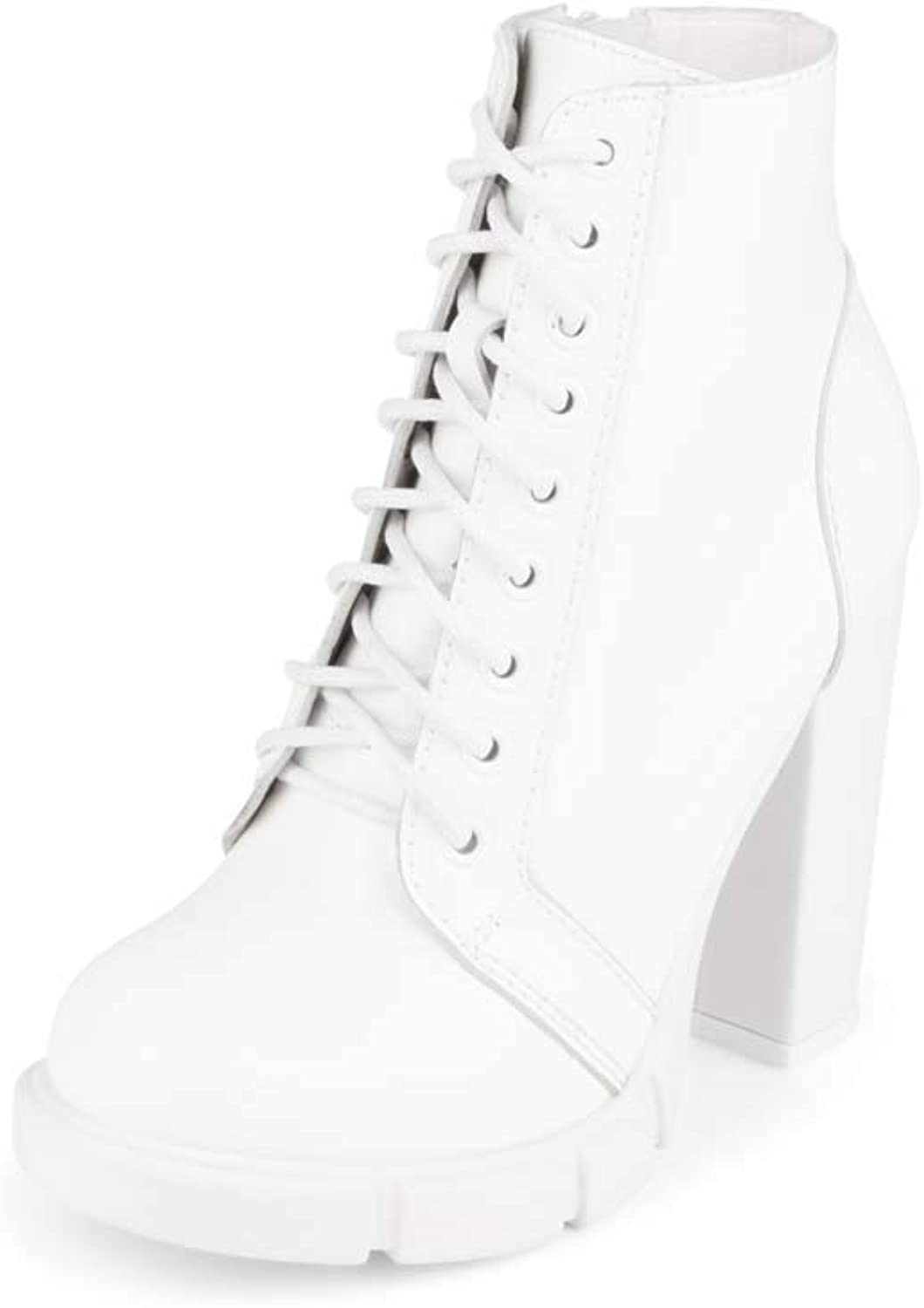 Jeffrey Campbell Solar White Leather Lug Sole Womens Combat Boot