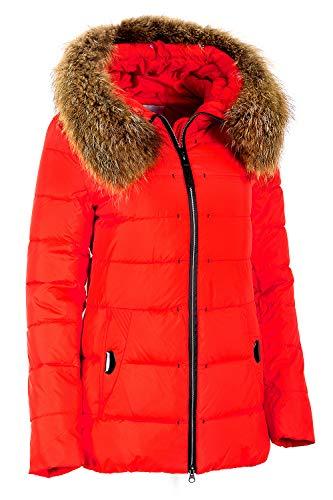 Grimada 683 Damen Winterjacke Skijacke in Daunen-Optik OLANMEAR Echtfell Kapuze (40,rot)