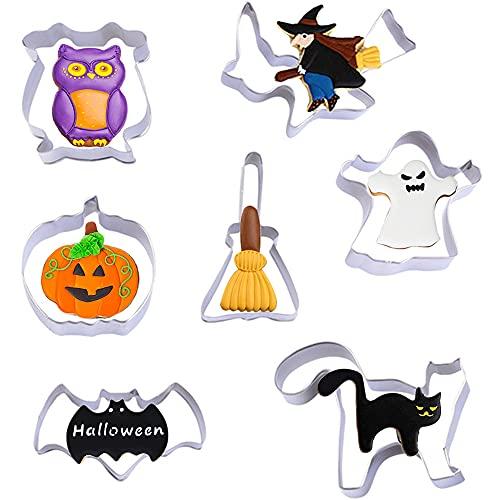 DURINM Set di 7 Halloween Formine per Biscotti Formine Biscotti Halloween, Acciaio Inox, per Biscotti DIY Decorazioni Dolci Festa Halloween