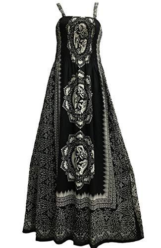 Yoga Trendz Celtic Print Sleeveless Bohemian Summer Long Maxi Dress (Black #10)