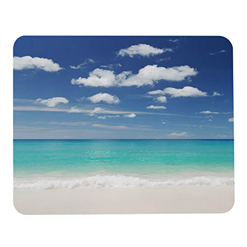 Wozukia Beach Landscape Mouse Pad Tropical White Sand Beach and Blue Sky White Cloud Scene Personalized Design Non-Slip Rubber Mouse Pad Rectangle Mouse Mat Desktop Notebook Mouse Pads 9.5x7.9 Inch