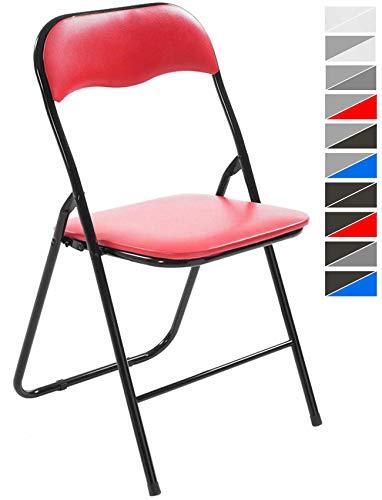 CLP Silla De Conferencia Felix con Estructura de Metal I Silla para Academias Plegable I Silla Plegable con Respaldo & Sin Reposabrazos I Color: Rojo/Negro