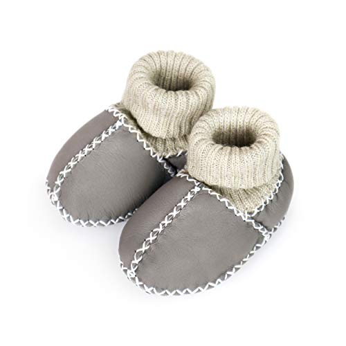 Pikababy Baby Moccasin Booties, Handmade Genuine Leather, Indoor Soft Sole Warm Shoes for Infant Baby Boys and Girls (Grey, 12_Months)