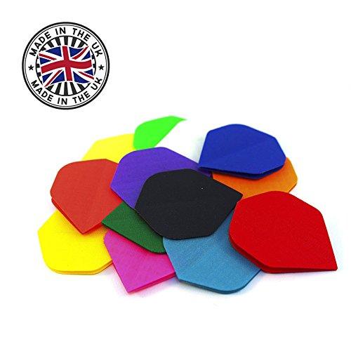 British Darts Hochwertige Nylon Stoff Dart Flights Flys Standard - inkl. 1 Satz Flights - Farbe & Menge frei wählbar - Qualitätsware Made in England (Mix (farbig Sortiert), 5 Sets (15 Stück))
