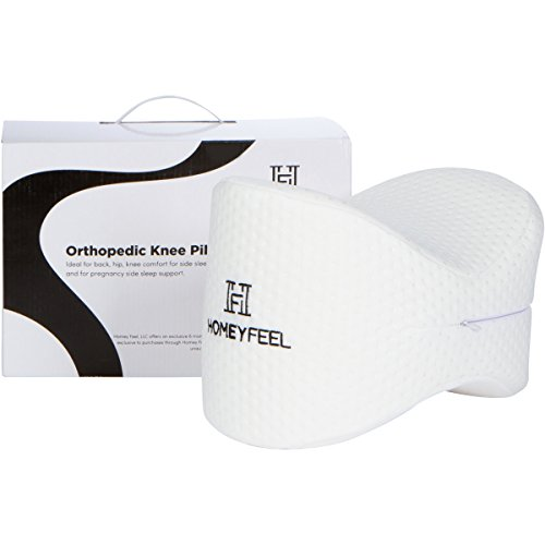 Homey Feel - Knee Pillow - Premium Memory Foam, Ideal for Side Sleepers - Machine Washable Cover.