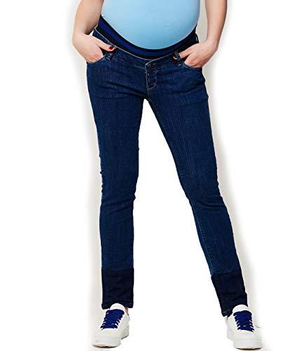 ESPRIT Maternity Damen Slim-Fit- Umstandsjeans Jersey-Bauchband (W33/L32 (Herstellergröße: 44/32), Darkwash (910))