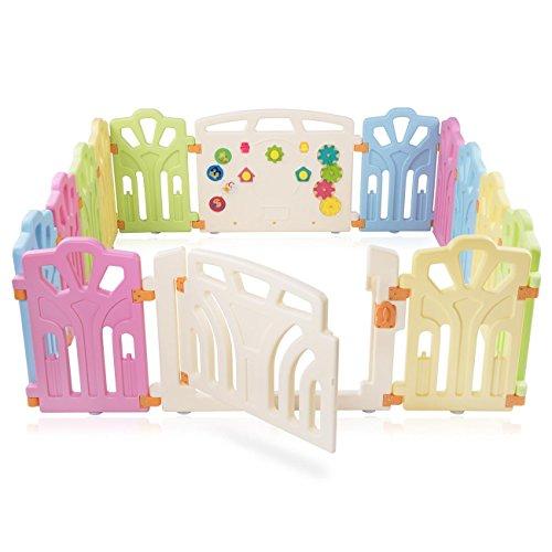 Baby Vivo Laufgitter Laufstall Baby Absperrgitter Krabbelgitter Schutzgitter für Kinder aus Kunststoff mit Tür und Spielzeug erweiterbar
