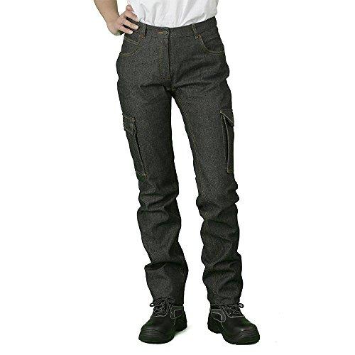 Hurry Jump werkbroek voor dames, jeans, 5 zakken + twee zijzakken, versterkte naden, ritssluiting van metaal. Verkrijgbaar in vele kleuren.