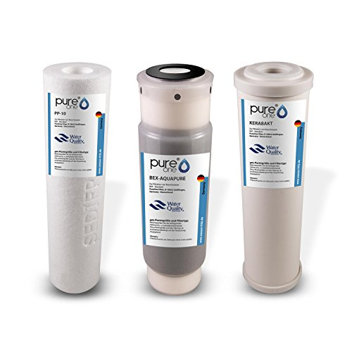 PureOne SEDIBAKT Ersatz-Garnitur Wasserfilter für Wasseraufbereitungsanlage 3-Fach Bakterien u. Keimen. PP Sediment Vorfilter, Aktivkohle-Kartusche, 0,3µm Keramik-Patrone 10 Zoll