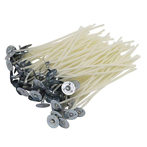DGQ 3.5 Inch Natural Candle Wicks with Tabs 100pcs 100% Natural Cotton Core - Low Smoke - Pre-Waxed for Candle Making
