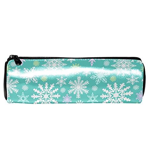 Estuche de lápices de copos de nieve de invierno, bolsa de papelería, organizador de bolsa de almacenamiento para la escuela, adolescentes, niñas, niños, hombres y mujeres