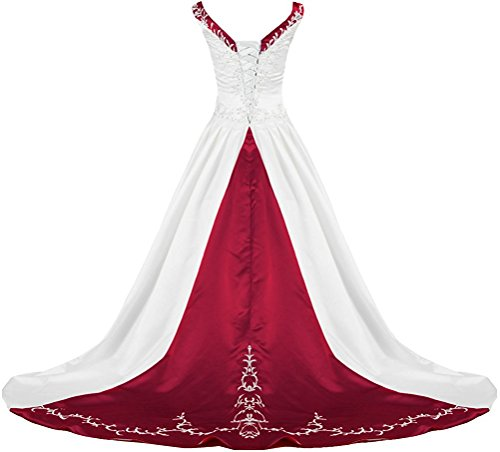 APXPF Women's V Neck Satin Embroidery Wedding Dress for Bride Chapel Train White and Burgundy US2