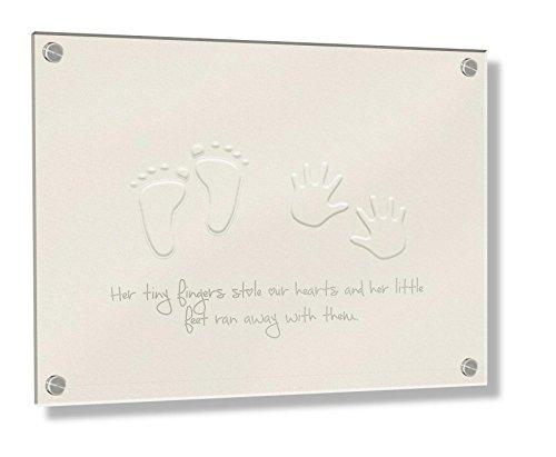 Feel Good Art Mural Cadre en acrylique 3D avec boulons Confrontation (20 x 30 x 0,6 cm, petit, beige/ML, ses petits pieds Stole nos cœurs)