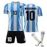 Argentina Messico 1986 MARADONA # 10 Retro WORLD CUP Maglietta, Maradona 10 Custom 1986 Argentina Home Retro Maglia da calcio Adult Kids Soccer Shirt Kit (M)