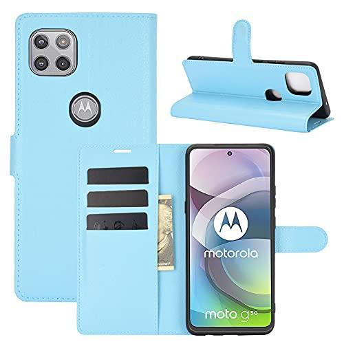 MINGYOUNG Funda de cuero premium con tapa para tarjetas, bolsillo a prueba de golpes, compatible con Motorola Moto G 5G (azul)