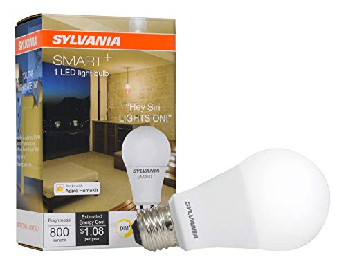 SYLVANIA General Lighting 74579 Smart+ A19 LED Bulb, Works with Apple HomeKit and Siri Voice Control, No Hub Required, 1 Pack, Dimamble Soft White