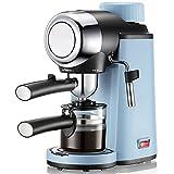 BVDOYFYJ Mini cafetera, máquinas de café expreso, máquina de café con Varilla de Espuma de Leche, para café expreso, Capuchino, café con Leche, machiato, Azul