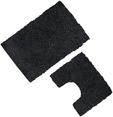 Gaveno Cavailia Lot de 2 Tapis de Bain et Contour WC antidérapants Ultra absorbants 100 % Polyester Noir 50 x 80 cm 50 x 40 c