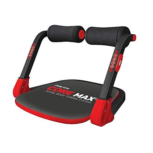 IRON GYM Core Max – Appareil de Musculation Compact Mixte Adulte pour Abdominaux, Biceps, Triceps, Dos, Buste et Jambe – 3 Niveaux de résistance - Coloris Noir/Rouge
