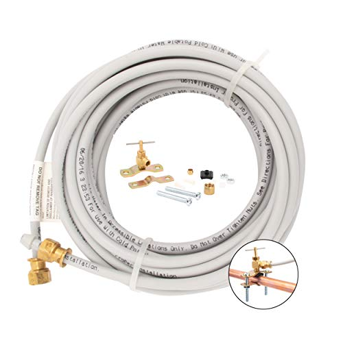 """PEX Ice Maker Installation Kit – 25 Feet of Tubing For Appliance Water Lines With Self Piercing Saddle Valve For Quick Installation, 1/4"""" Compression Fittings, Flexible Hose For Potable Drinking Water"""