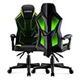 UOMAX Gaming Chair, Reclining Racing Chair with LED Lights, Ergonomic Computer Chair with Lumbar Support, Adjustable PC Gamer Chair with Mesh Back(Green)