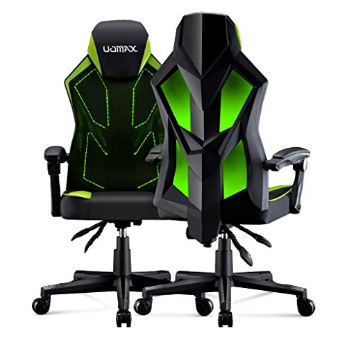 UOMAX Gaming Chair E-Sports LED Light Computer Chairs with Ergonomic Mesh Back Support. Flatten Widen Seat Lumbar Cushion, Adjustable PC Gamer Chair 150kg (Green)