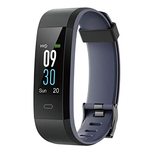 Fitness Tracker with Heart Rate Monitor, Fitness Watch Activity Tracker Smart Watch with Sleep Monitor 14 Sports Mode,Pedometer Watch for Kids Men Women (Color Screen,IP68 Waterproof) (115 Grey)
