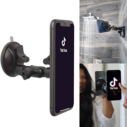 Hula+ Shower/Mirror Phone Holder/Mount/Stand. Reusable Non-Residue Mount for Bathroom/Kitchen/Wall. Compatible with All Phones, Great Gift for TikTok/YouTube/Make Up… (Black)