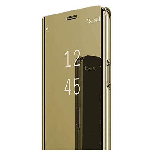 Samsung Galaxy S7/S7 Edge Sottile Chiaro Specchio Stand Protezione S-View Flip Cover (Oro, Galaxy S7 Edge)