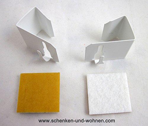 2x Fensterhaken für Gardinenstangen/Vitragenstangen/Scheibengardinen Weiß 12-20mm Universal
