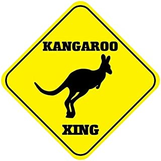 Ralally Kangaroo Crossing Funny Metal Aluminum Novelty Sign - 12x12 inch