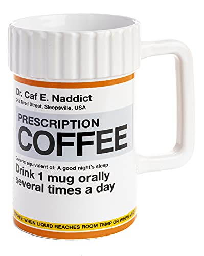 Paladone Prescription Coffee Mug 17.5floz | Funny Novelty Gift