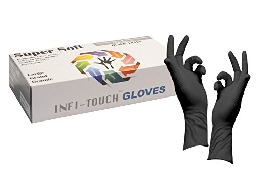 """Infi-Touch 8mil Thickness Black Latex 12"""" Length Disposable Gloves, Large (50 Count)"""