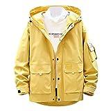 MAYOGO Herren Sweatjacke Lässige Einfarbig Kapuzenjacke Regenjacke Streetwear College Jacke Übergangsjacke Dünn Full Zip Herrenjacke Jacken Cardigan Sweatjacke Mantel (Gelb, XXXL)