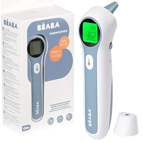 BÉABA - Termómetro infrarrojos Niños y Adultos - Termómetro digital - 3 en 1 : Frente, Auricular y Ambiental - Termómetro sin contacto con pantalla LCD - Thermospeed