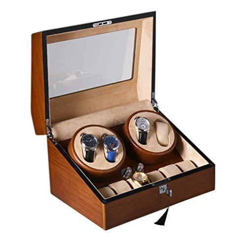 Caja automática de madera de lujo para 4 relojes con caja de exhibición, 6 cajas de almacenamiento, motor silencioso, 4 modos de rotación, 100% hecho a mano (color: marrón, tamaño: 34 x 25 x 22 cm)