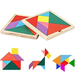 Rainbow tangram with 7 pieces blocks in one pack, Total have 28 pieces(4 pack), 7 different color and size for you Tangram Puzzle Size: 11.5x11.5x0.8CM (including the outer frame) Develop kids creativity and difference in shape, angle ability, foster...