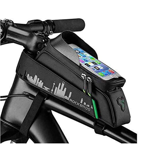 WYZQ Bolsa de Cuadro de Bicicleta fácil de Instalar, Bolsa de Manillar de Bicicleta Impermeable y de Gran Capacidad con Pantalla táctil y Conector para Auriculares Soporte para teléfono de bicicl