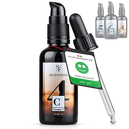 LEISTUNGS-SIEGER 2021 | 4-FACH BIO Vitamin C Serum hochdosiert [20{313e41b0bd3d5cb21615ceb9053afc32f4448638eecb31986cf7bddc9d05d323}] +HYALURON +VITAMIN E&A +UREA +SHEA +AMINOSÄUREN | SKINFUSION- Gesichtspflege für Damen und Männer